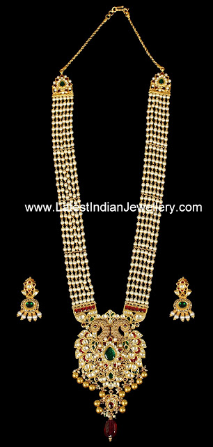 Peacock pendant Kundan Necklace Pearls