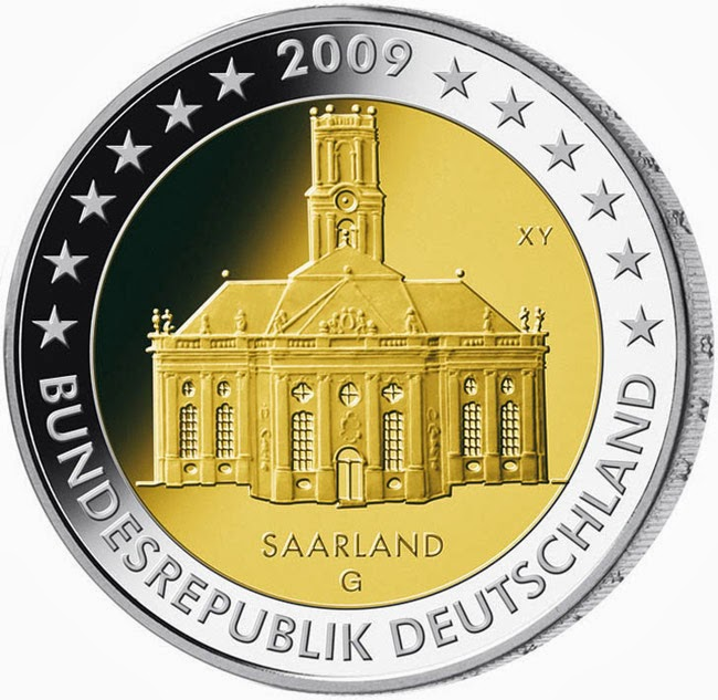 2 euro Germany 2009, Commemorative coins Bundeslander series Ludwigskirche in Saarbrücken Saarland