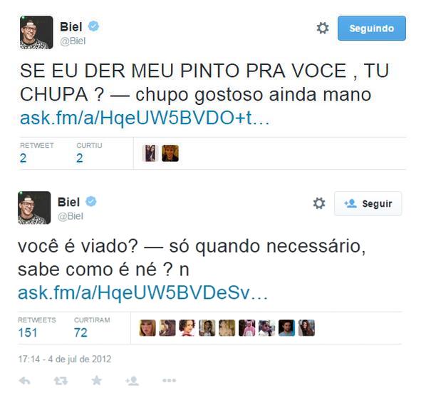 Supostos tweets do cantor MC Biel.