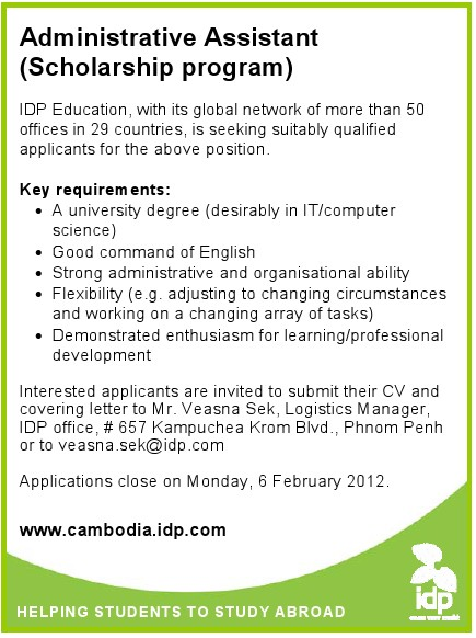 cambodia jobs  administrative assistant  scholarship program  at idp education  deadline  6