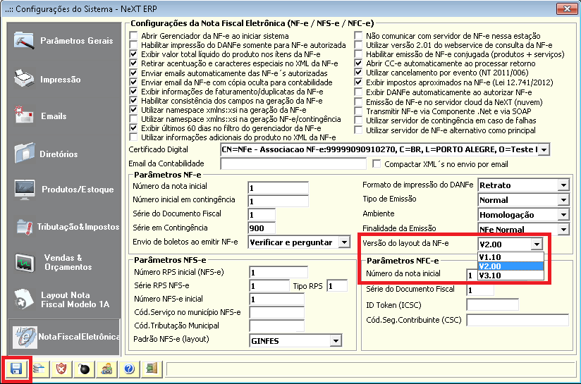 NeXT ERP 1.7.5 layout 3.10 da NF-e