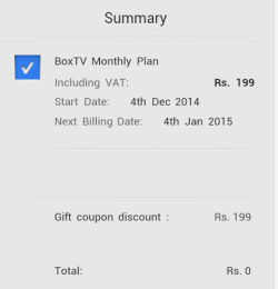 BoxTV 1 month subscription worth 199 Rs free