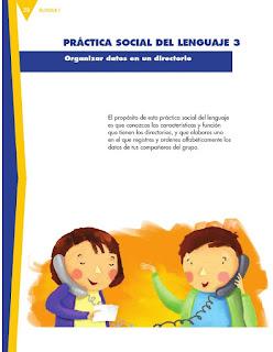 Apoyo Primaria Español 3er grado Bloque 1 lección 3 Práctica social del lenguaje 3, Organizar datos en un directorio