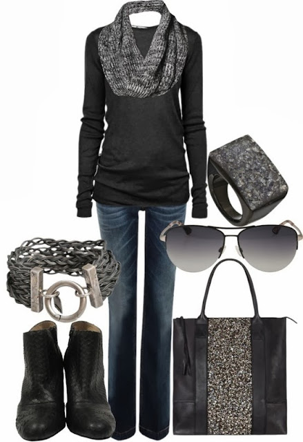 Grey scarf, black sweater, handbag and long boots for fall