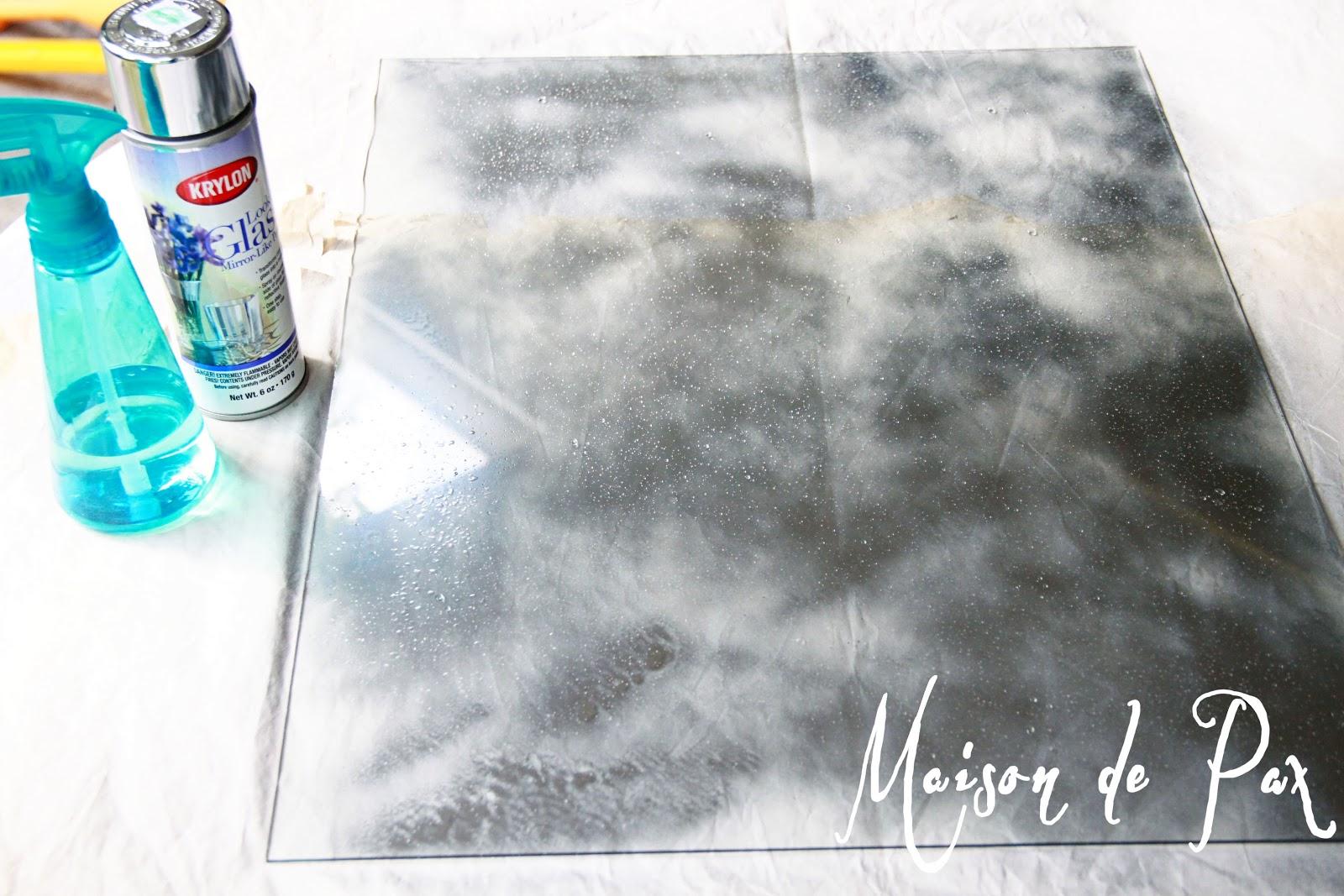 Antique mirror tutorial maison de pax for Mirror spray paint