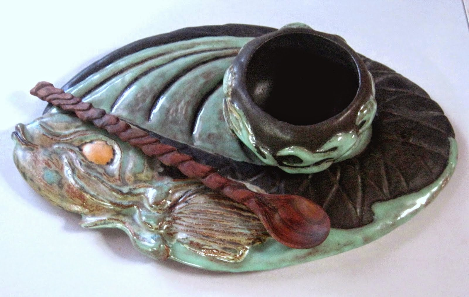 Ceramic Tray and Fish Bowl * with walnut wave spoon