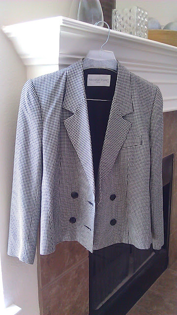 thrift store - black and white checkered blazer