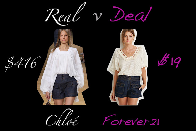 Real verses Deal featuring Chloe denim shorts verses Forever 21 shorts verse