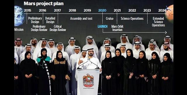 Shaikh Mohammed announces UAE's Mars mission plans in Dubai on Wednesday. Credit: AP