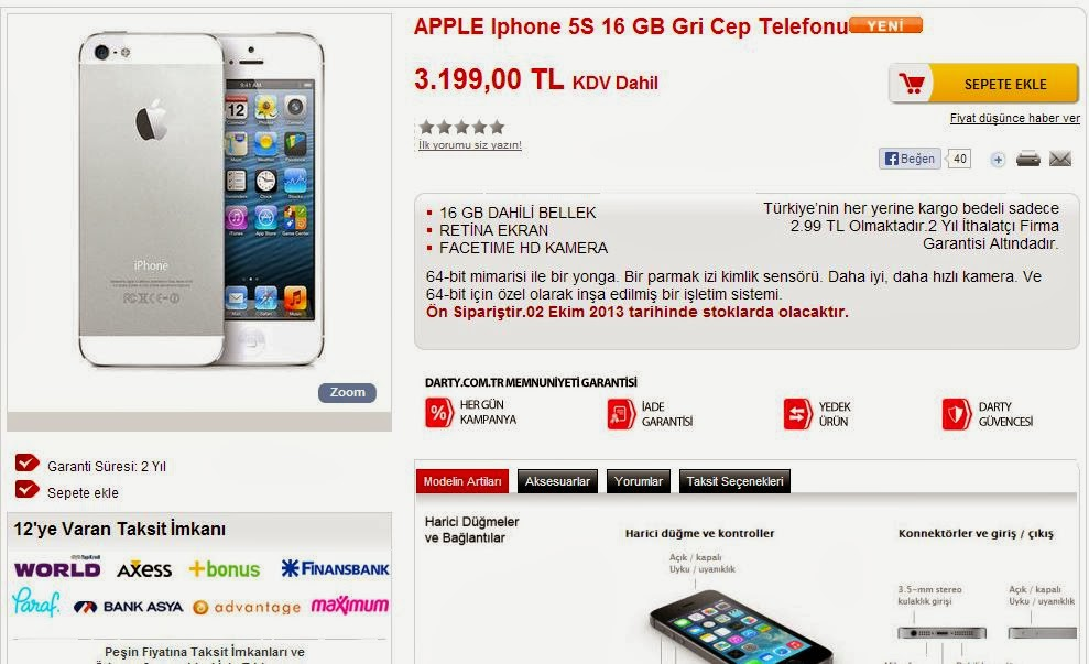 iphone 5s türkiye fiyatı