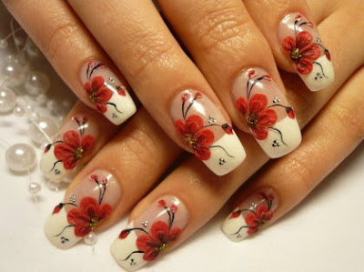elegant+french+manicure+with+red+flowers  Red Nail Designs with flowers for every day