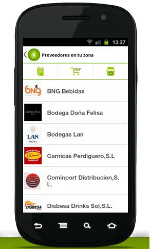 aplicación suministros horeca, programa suministros horeca, pedidos para bares y restaurantes