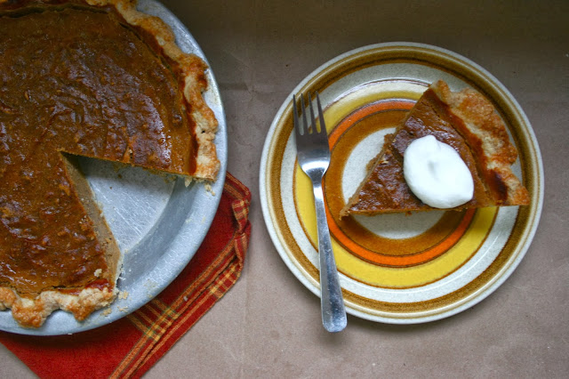 Drunken Pumpkin Bourbon Pie with Mascarpone Cream