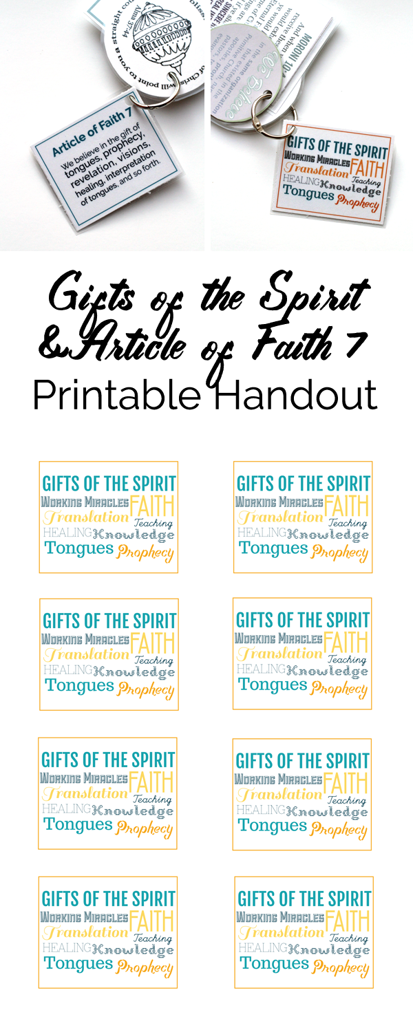Primary Manual 7: Lesson 45, Gifts of the Spirit & Article of Faith #7 printable handout