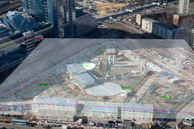 Photo showing Russia Tower floor plan on the site showing where tower was set to rise