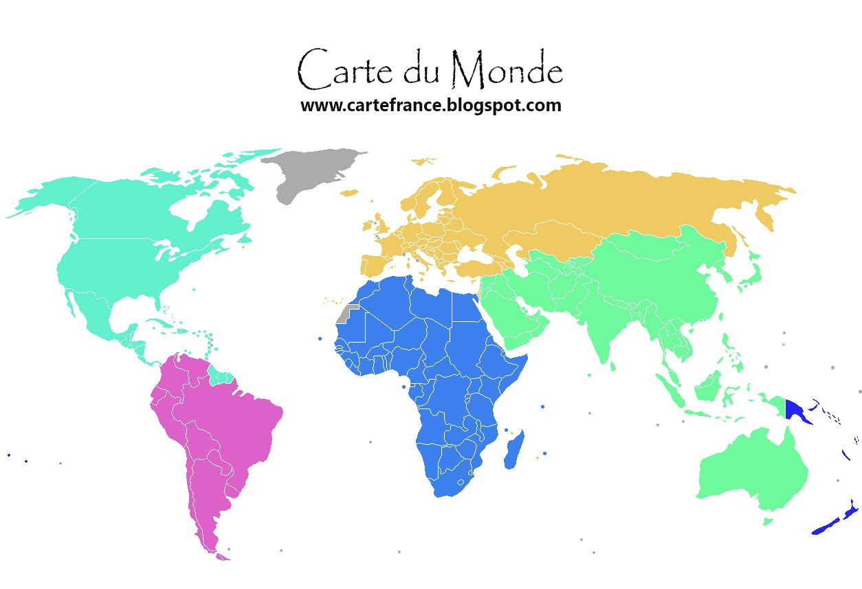 Carte du monde d partement r gion carte france for B b carte france