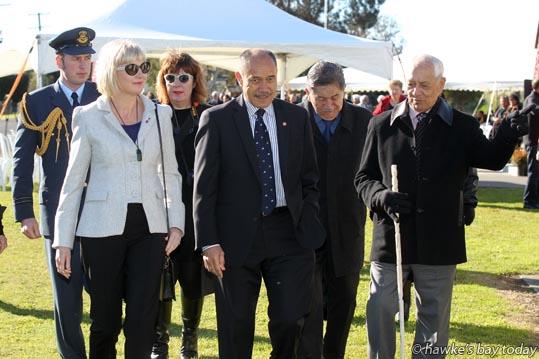 Front L-R: Lady Janine Mateparae,  Governor-General Lt Gen Rt Hon Sir Jerry Mateparae; Bevan Taylor, kaumatua - visit to Kohupatiki Marae, Kohupatiki, Hastings. photograph