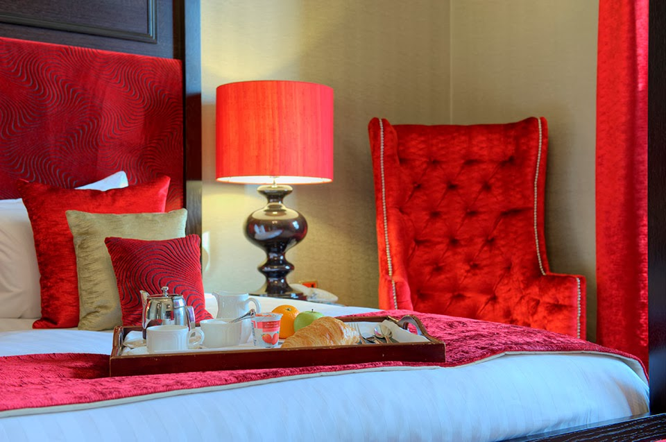 Red bedroom in The Dunstane Hotel