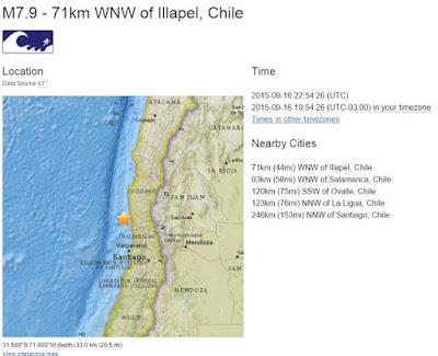 Epicentro sismo 7,9 grados costa de Chile 16 de Septiembre 2015