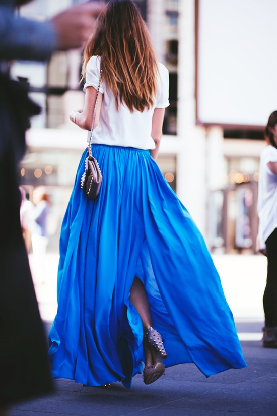 colage maxi skirt blue azul klein maxi falda