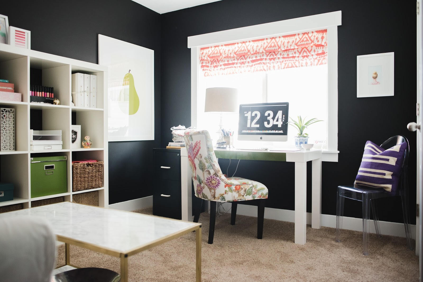 design my office. I Balanced Out The Dark Walls With A White Sofa, Large And Green Art Lots Of Colorful Accents . Here Is My Office! Design Office D