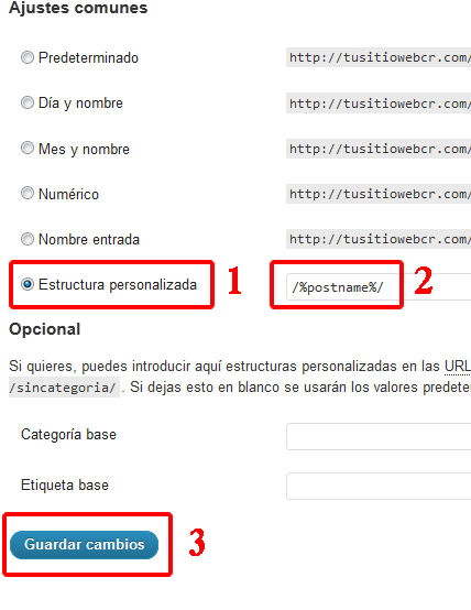 Ajustes comunes WordPress