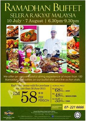 Selera Rakyat Malaysia - Grand BlueWave Hotel Johor Bahru  Dewasa RM68++  Kanak-kanak RM35++  Warga Emas RM48++  Harga Promosi sebelum 30 Jun 2013:  RM58++  Untuk tempahan : 07 221 6666