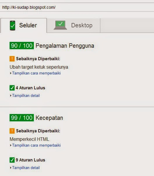 Fast Loading di PageSpeed Insights