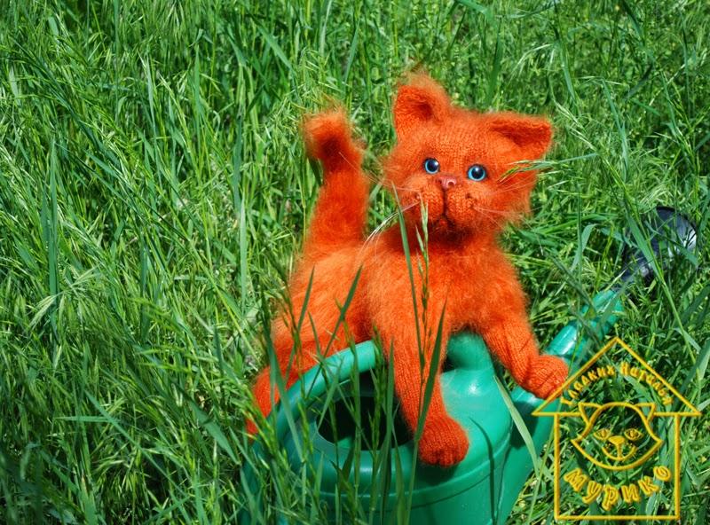 кот, cat, рыжий, игрушки, авторские куклы, купить котенка,подарки, мурико, лето, лейка
