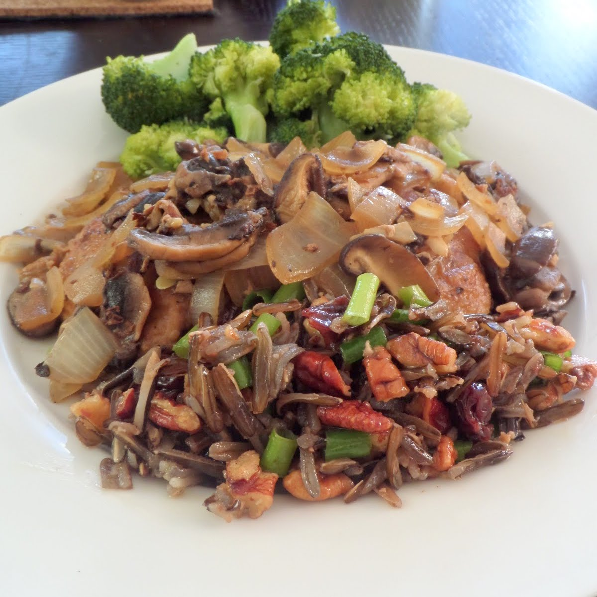 Pork Scallopini:  Thinly sliced pork served with a white wine mushroom sauce.