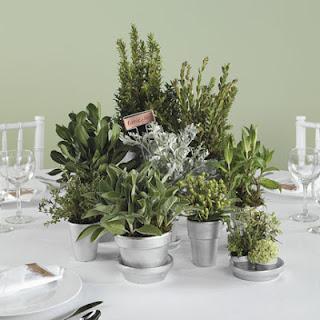 green herb wedding centerpiece and favor