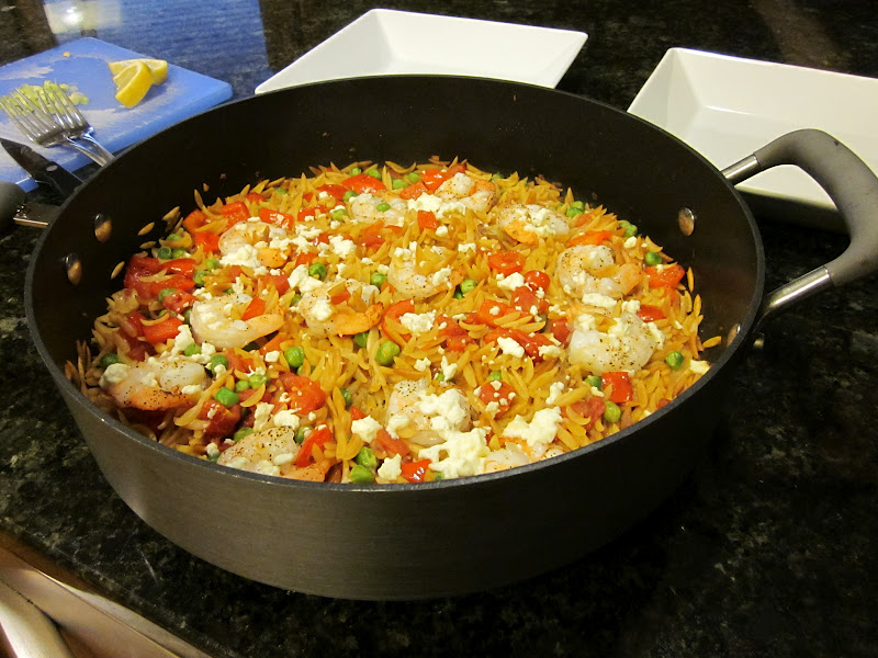 Skillet Shrimp and Orzo Casserole | Cooking on the Front Burner