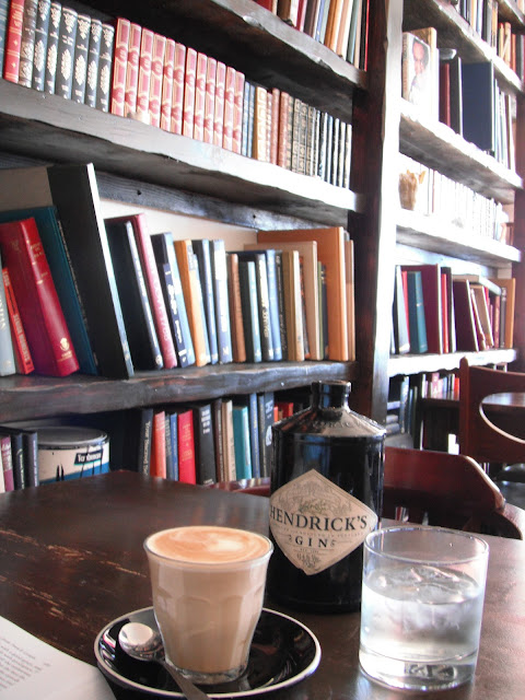 iced water in Hendrick's gin bottles and perfect coffee at Heminway's, Manly Beach, Sydney @ SouthernSpoon blog