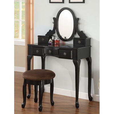 2pc vanity set with stool in black finish 2pc vanity set with stool in