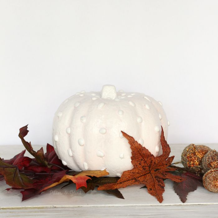 Hobnail Milk Glass-Inspired Dollar Store Pumpkin Makeover www.pitterandglink.com