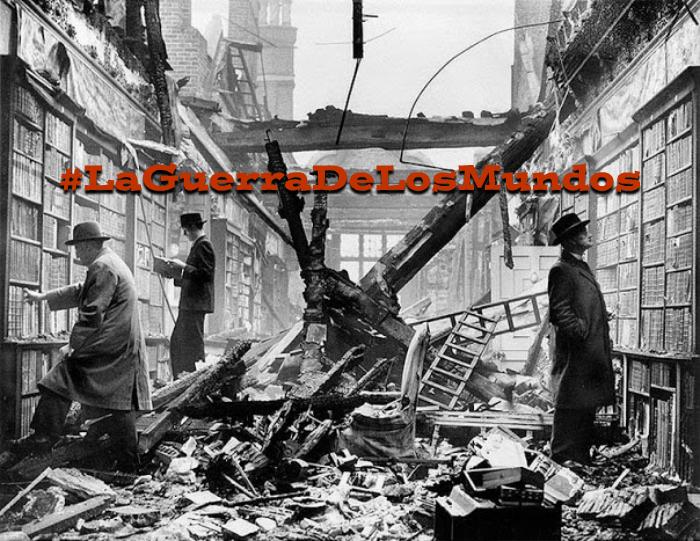 bibliotca bombardeada con hashtag de la guerra de los mundos