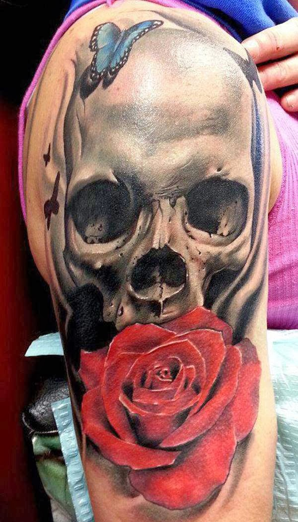 Skull rose tattoo combines the meanings of both skull and rose, which represents eternal love.