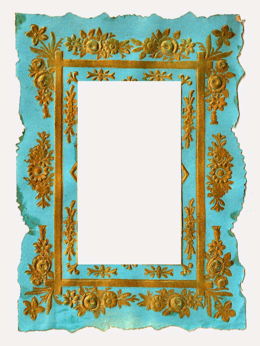 Digital Vintage Frame Clip Art Of Blue And Gold Background Graphics