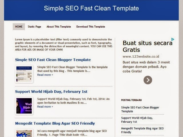 Simple SEO Fast Clean Blogger Template