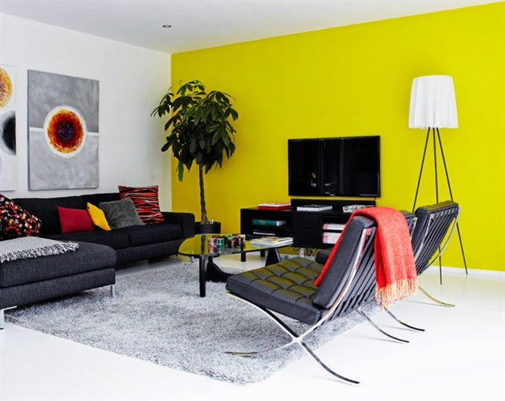 Modern living room with black Barcelona chairs, a dark grey sofa, grey shag rug, white concrete floors and a yellow accent wall