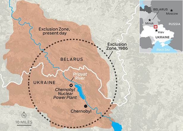 The Chernobyl exclusion zone map with objects https//www ... on