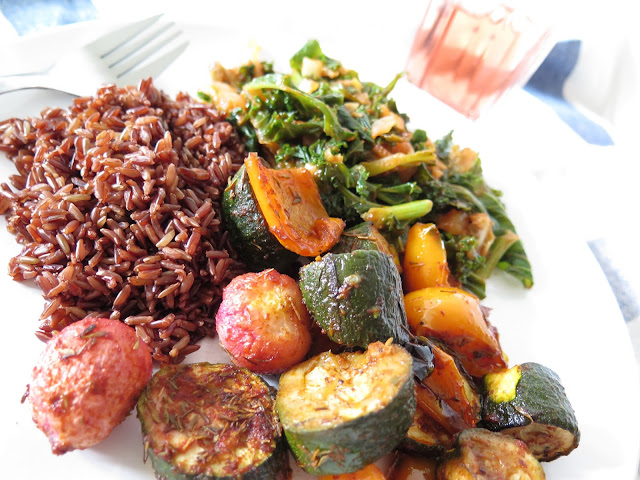vegan food, roasted vegetables and red rice