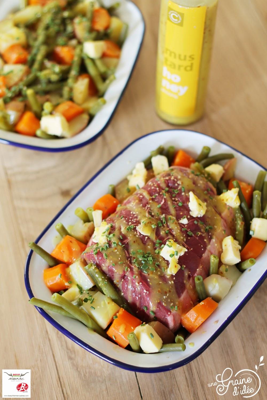 Roti de boeuf à la moutarde au miel et aux légumes de la ferme - Une Graine d'Idée