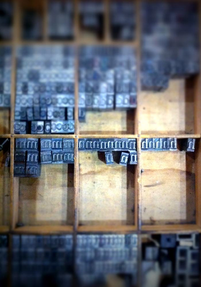type case at the National Print Museum, Dublin