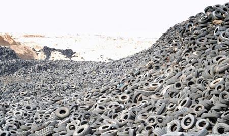 Aterro de pneus visto da lua