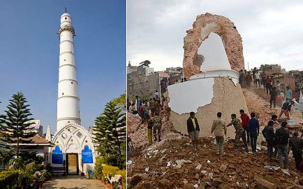 UNESCO heritage Dharhara Tower in nepal destroyed by earthquake