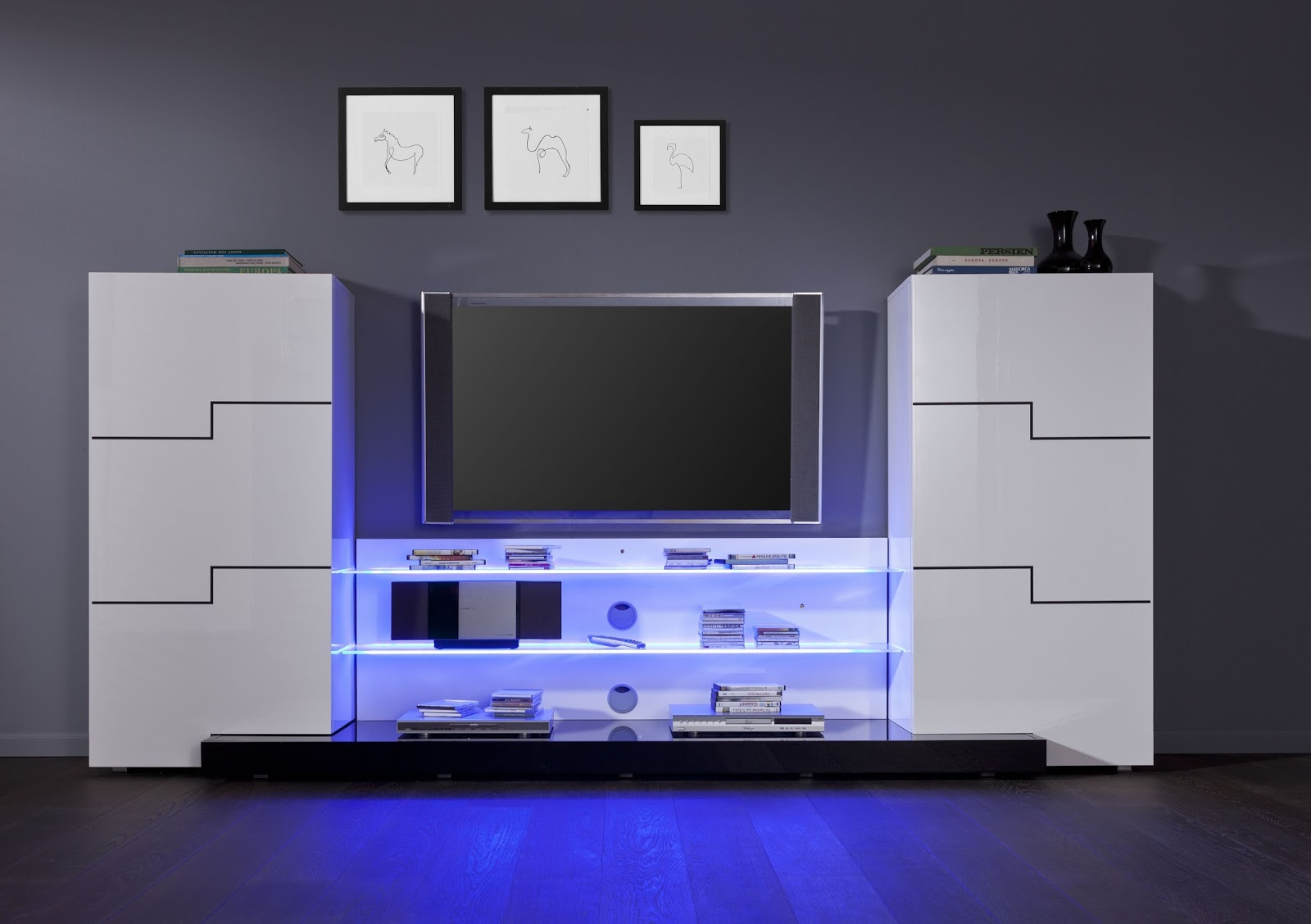 Meuble Tv Miami Led Fenrez Com Sammlung Von Design Zeichnungen  # Meuble Tv Noir Laque Led