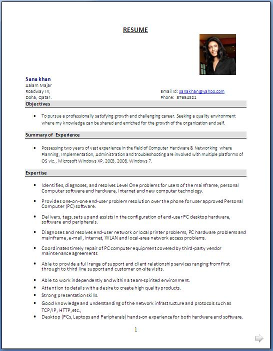admin resume format Template – Resume Format for Administration