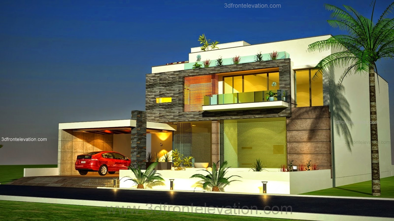 3d front 1 kanal plot new beautiful modern contemporary house design 3d front - Home decorating services plan ...