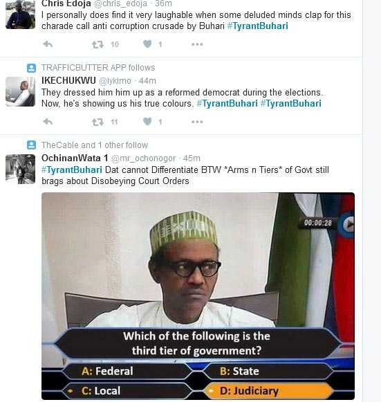 #TyrantBuhari: Top Hashtag Trending On Twitter About Nigerian President Buhari (Check Out The Tweets)